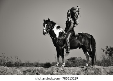 Vintage image. Red Indian sitting on his horse.