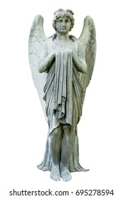 Vintage image of a sad angel on a cemetery against white background