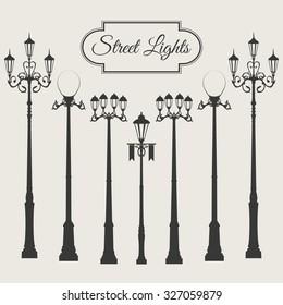 Vintage image street light set illustration silhouette isolated on white background