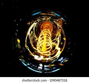Vintage Industrial Filament Lightbulb Light hanging in black background