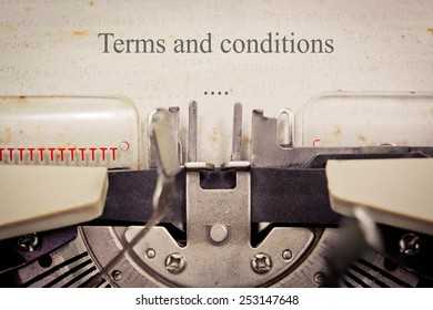 Vintage inscription made by old typewriter, terms and conditions