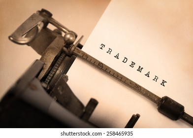 Vintage inscription made by old typewriter, Trademark