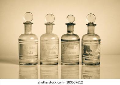 Vintage instruments belonged to a pharmacist