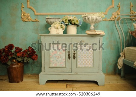 Vintage Interior Decoration Green Pastel Closet Red Roses In Metal Bucket  And White Roses In Vase