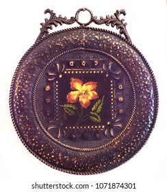 Vintage Interior Decorative Hanging Tin Wall Plaque Design with Flower Black
