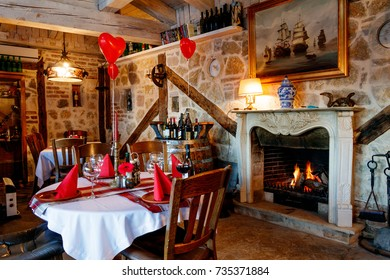 Vintage interior of the restaurant fireplace of St. Valentine's Day