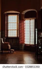 vintage interior view with windows