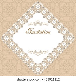 Vintage invitation template with lacy doily on seamless background. Retro style illustration