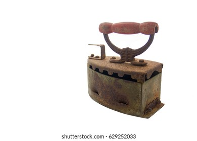 Vintage iron, rust, isolated on white background.