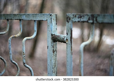 Vintage iron  rusty fence close up