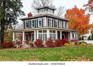Vintage Italianate style house during autumn, architectural style popular in the 1800s