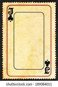 A vintage Jack of Clubs symbol gaming card on a grungy retro paper parchment with blank space for text.