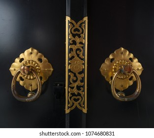 vintage japanese door decorated with brass pattern