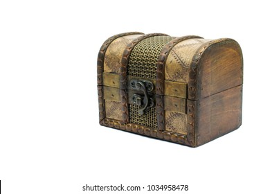 Vintage jewellery box with lock isolated on white background