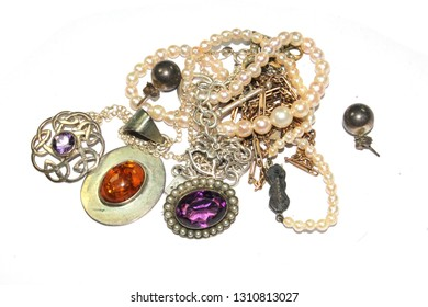 Vintage Jewellery on White Background