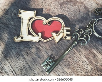 Vintage key with heart valentines