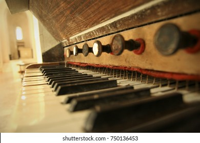 Vintage keyboard of an organ instrument