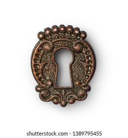 Vintage keyhole as decorative design element isolated on white background