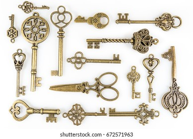 Vintage Keys Collection Isolated On White Background