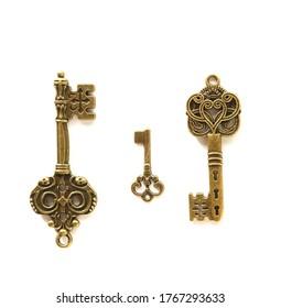 Vintage keys isolated on white background. Poster