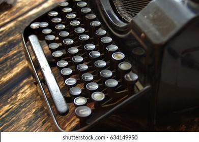 vintage keys of old typewriter macro, details, obsolete writing machine