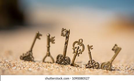 Vintage Keys On Beach