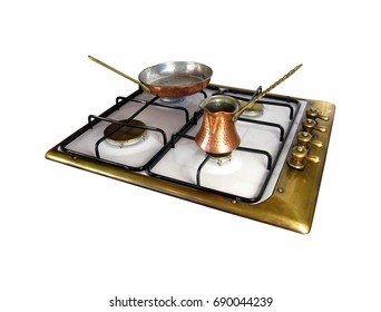 Vintage kitchen copper cook top with Turkish pot and copper pan isolated on white background