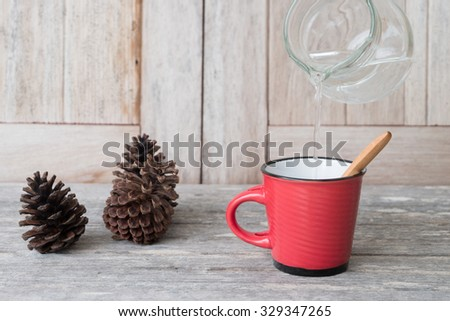 Vintage Kitchen Decor Red Cup Coffee Stock Photo Edit Now