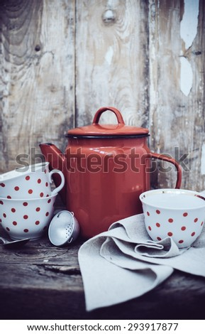 Vintage Kitchen Decor Red Enamel Coffee Stock Photo (Edit ... on