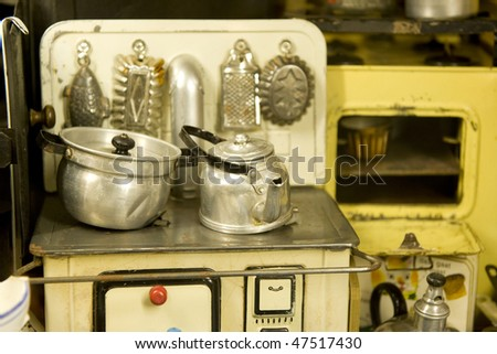Vintage Kitchen Toys With Stove Pots And Pans