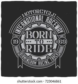 Vintage label design with lettering composition on dark background. Raster copy.