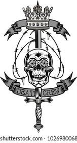 Vintage label. Skull and knife