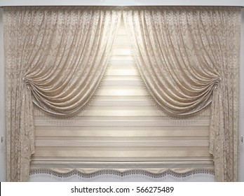 Vintage lace material drapes hanging on wall