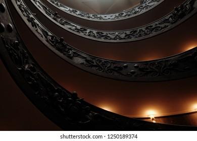 Vintage ladder. Spiral staircase. Like opera interior