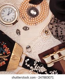 Vintage ladies things. Jewelry, handbags and opera glasses