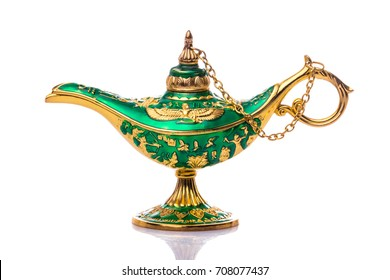 Vintage lamp of Aladdin. Old style oil lamp.  Genie lamp also called Aladdin lamp with pharaonic symbols