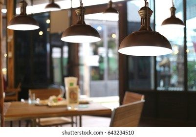 Vintage lamps in a restaurant,concept of interior with lights.