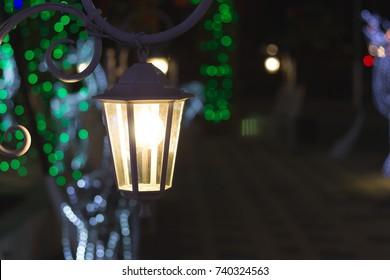 Vintage Lantern at Night