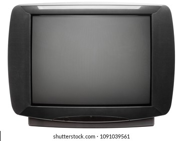 Vintage large screen stereo CRT television set isolated on white background