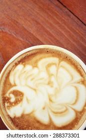 Vintage latte art coffee
