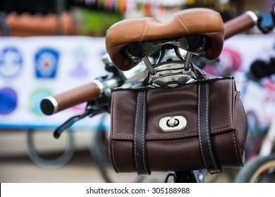 vintage leather bicycle bag on seat