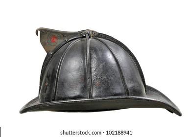 Vintage Leather Fireman Helmet isolated on white