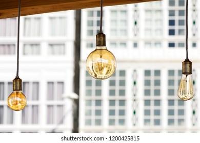 vintage led bulbs decoration in  city street festival