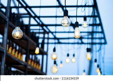 vintage led bulbs decoration in outdoor bar at night