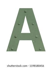 A vintage letter in green metal
