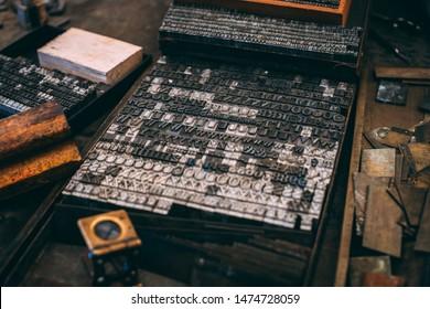 Vintage Letterpress accessories on desk
