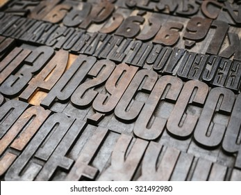 Vintage Letterpress wood type printing blocks background
