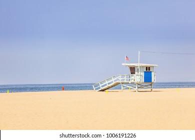 Vintage lifeguard hut on Santa Monica beach California