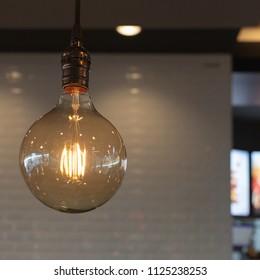 Vintage Light Blub in the coffee shop.