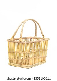 vintage light brown weave wicker basket isolated on white background